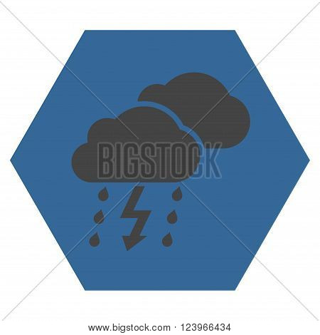 Thunderstorm vector icon. Image style is bicolor flat thunderstorm iconic symbol drawn on a hexagon with cobalt and gray colors.