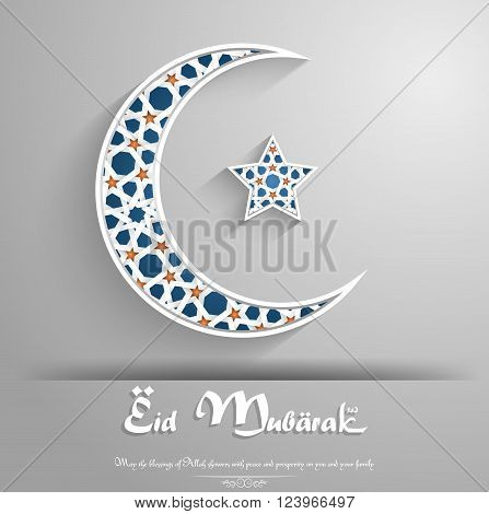 Illustration of Crescent moon with star on grey background