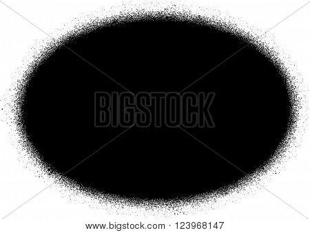 ellipse sprayed graffiti sign in black over white