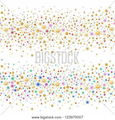 Seamless scattered circles & stars isolated on white background vector illustration