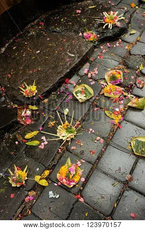Balinese-Hindu offerings of flower petals incense and rice are left in palm-leaf boxes for the Gods at a Hindu temple in Sebatu Sacred Springs Bali Indonesia.