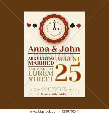 Alice in wonderland Save the Date card. Vintage invitation with playing cards suit and old key. Vector invitation template