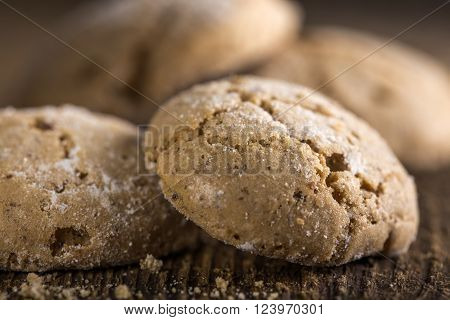 Almond ginger molasses cookies with sugar sprinkles ** Note: Shallow depth of field