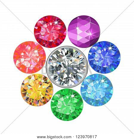Gemstone brooch isolated on white background vector illustration