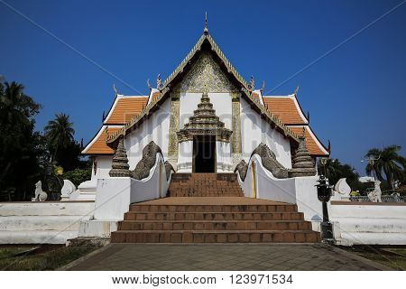 Thai Northern Style Temple with Blue Sky, Wat Phumin - Nan, Thailand