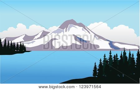 Vector mountain ice and river with blue backgroound