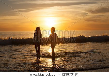 Brother and sister walking on the beach
