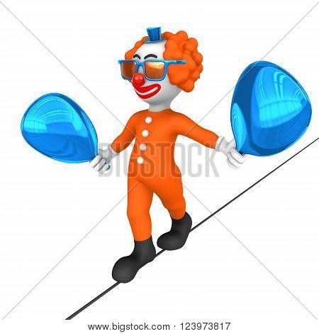 3d clown. Rope walk. 3d rendered illustration