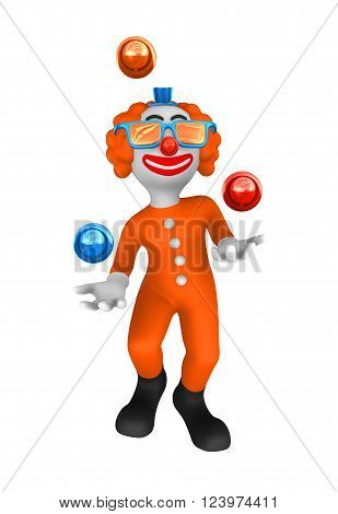 3d rendered clown juggles with red balls.