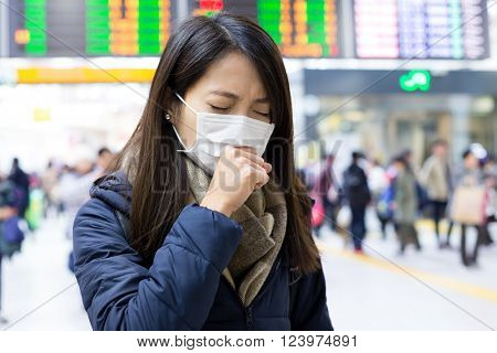Woman cough with face mask