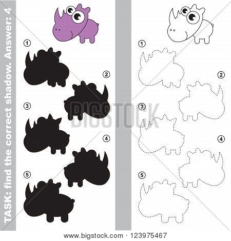 Rhinoceratos with different shadows to find the correct one. Compare and connect object with it true shadow. Visual game for children.