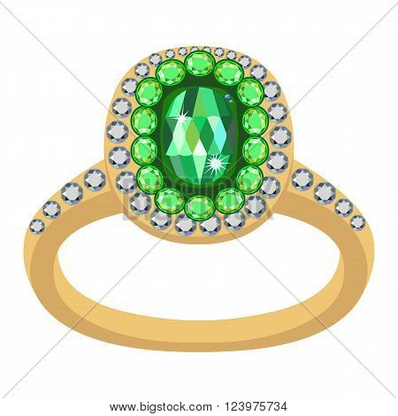 Emerald golden ring isolated on white background vector illustration