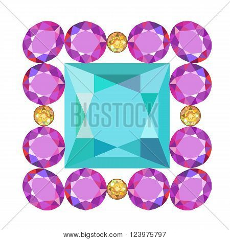 Gemstone rim princess cut square brooch isolated on white background vector illustration