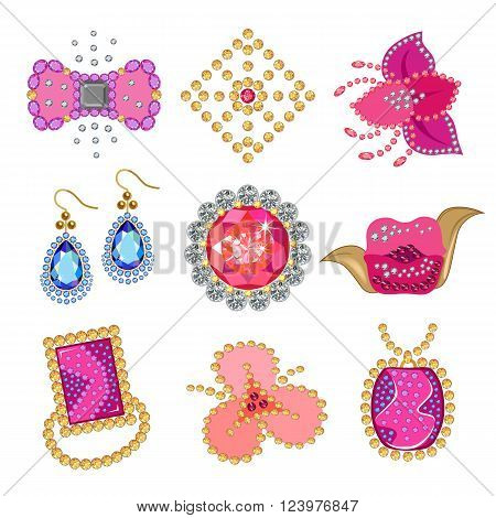 Coquette gemstones brooch isolated on white background vector illustration
