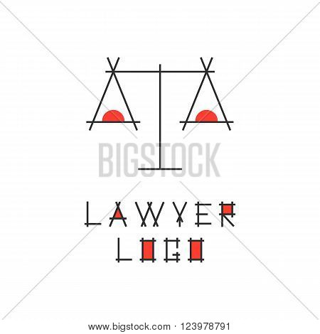 lawyer logotype with abstract scales. concept of judging, law firm, legal company, jurisprudence, legist, verdict. isolated on white background. flat style modern brand design vector illustration