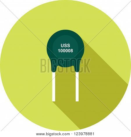 Thermistor, resistor, ohms icon vector image. Can also be used for electric circuits. Suitable for use on web apps, mobile apps and print media.