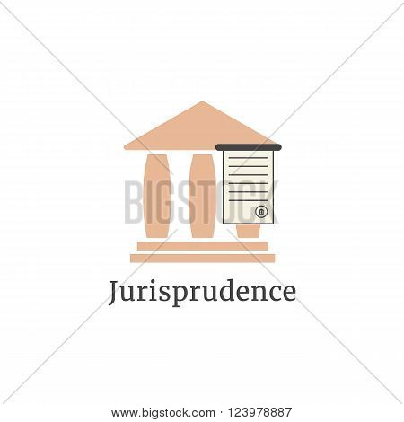 lawyer logotype with greek colonnade. concept of judging, law firm, legal company, jurisprudence, legist, verdict. isolated on white background. flat style modern brand design vector illustration