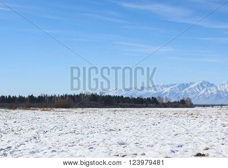 Snowfield at the foot of the mountains