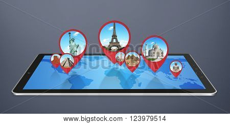Famous monuments of the world grouped together on a tactile tablet