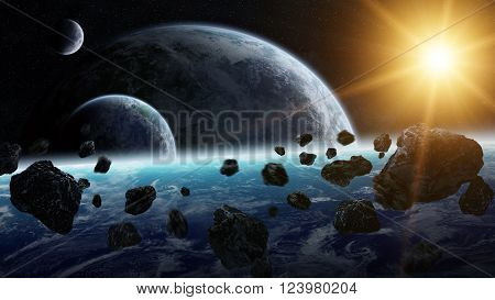 Meteorite Impact On Planets In Space