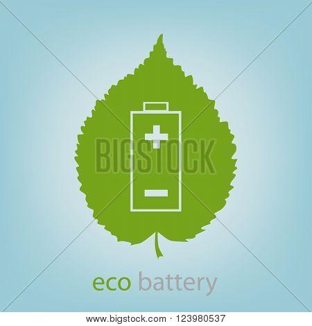 Eco battery symbol carved in a tree leaf, vector illustration