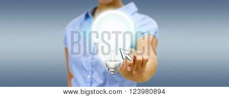 Young woman holding shinny lightbulb in his hand
