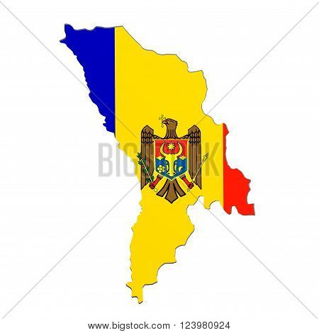 Silhouette Of Moldova Map With Flag