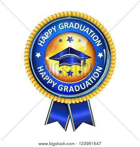 Happy Graduation elegant award ribbon with cap.