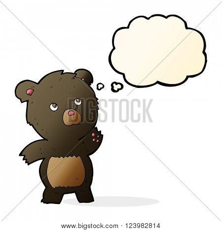 cartoon curious black bear with thought bubble