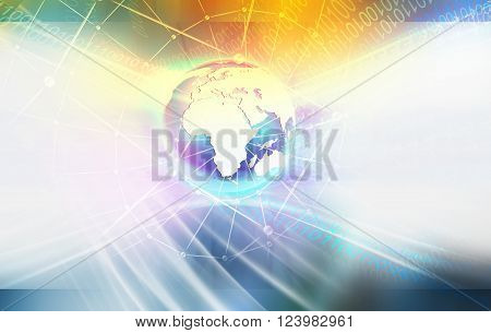 Global Connectivity Background of Digital World Waving Digital Numbers Orbiting Around the Earth Globe
