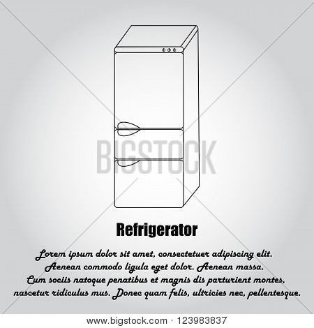 Fridge icon.Isolated on white background.Performed in the style of contour drawing.