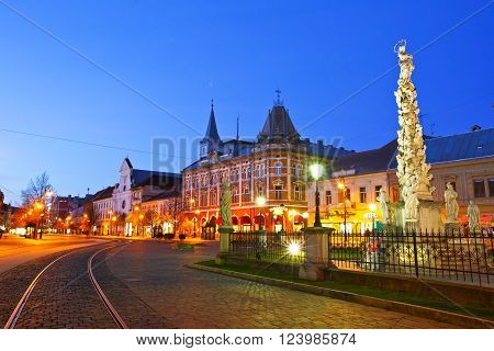KOSICE, SLOVAKIA - MARCH 19, 2016: Immaulata statue and Neo-Renaissance Andrassy Palace in the main square of Kosice city in eastern Slovakia on March 19, 2016.