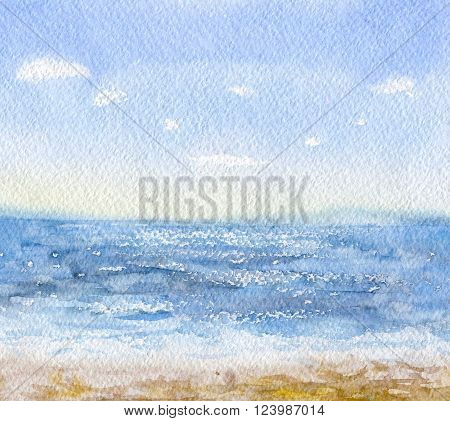 Hand drawn watercolor illustration. Nature landscape. Watercolor sketch of blue sea. Tropical beach background.