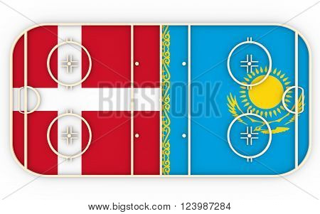 Denmark vs Kazakhstan. Ice hockey competition 2016. National flags on playground. 3D rendering