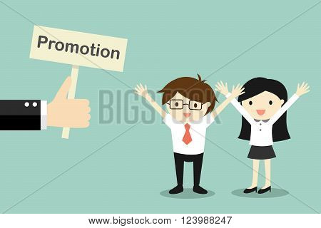 Business concept, Hand offers promotion to businessman and business woman. Vector illustration.