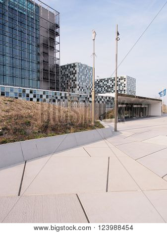 The Hague, Netherlands - March 27, 2016: Entrance of the International Criminal Court at the new 2015 opened ICC building.