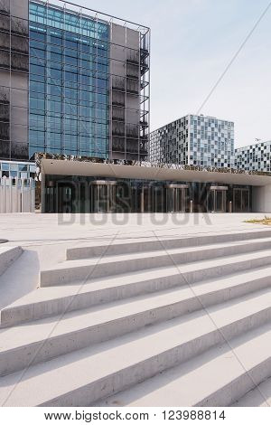 The Hague Netherlands - March 27 2016: Entrance steps of the International Criminal Court at the new 2015 opened ICC building.