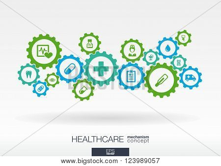 Healthcare mechanism concept. Abstract background with connected gears and icons for medical, health, care, medicine, network, social media and global concepts. Vector infographic illustration.