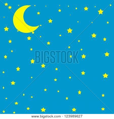 Moon in the sky vector illustration night