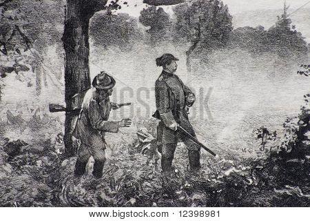escena de caza-reproducción de la litografía antigua