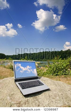 laptop on natural background