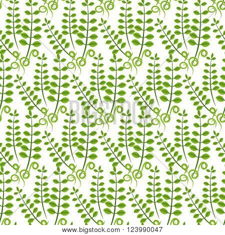 Spring green branch leaves seamless pattern. Floral tender fine summer vector pattern on white background. For fabric textile prints and apparel.