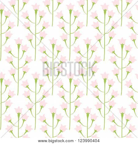 Wild bluebell pink pastel flower spring field seamless pattern. Floral tender fine summer vector pattern on white background. For fabric textile prints and apparel.