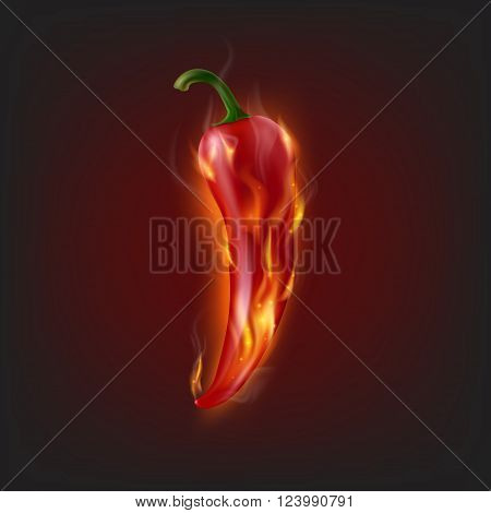 Background with burning chilli pepper. Vector EPS10 Illustration.