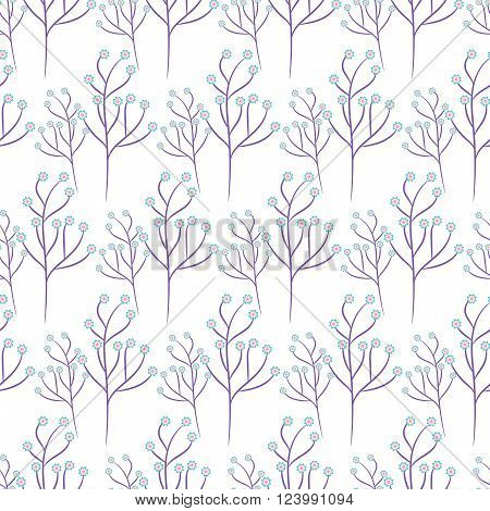Wild flower purple branch spring field seamless pattern. Floral tender fine summer vector pattern on white background. For fabric textile prints and apparel.
