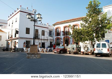 COMARES, SPAIN - JUNE 29, 2008 - Pavement cafe in the town square Comares Malaga Province Andalusia Spain Western Europe, June 29, 2008.