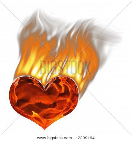 Rot brennenden Herz mit Flammen und Rauch über White