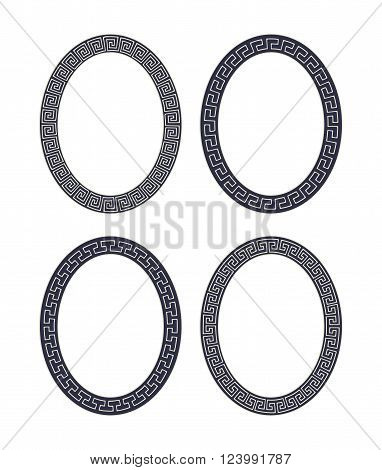 Vector set of four oval meander frames. Greek hand drawn border for banner, card, invitation, postcard, label, poster, emblem and other design elements. Vector isolated illustration.