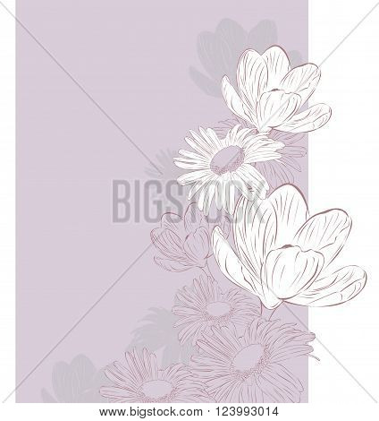 light floral background with spring flowers on a purple
