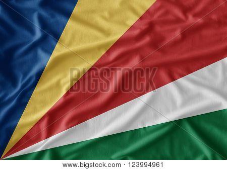 Waving Seychelles flag. Seychelles flag texture background